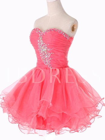 A-Line Sweetheart Beaded Ruches Short Homecoming Dress