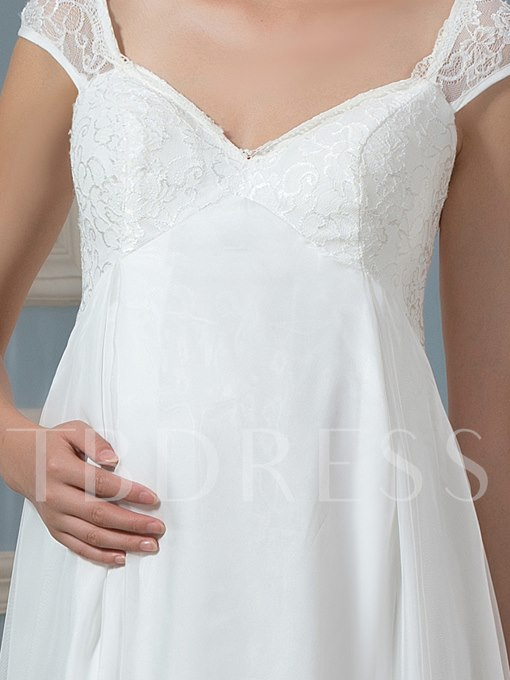 Lace Cap Sleeve Lace-Up Maternity Wedding Dress