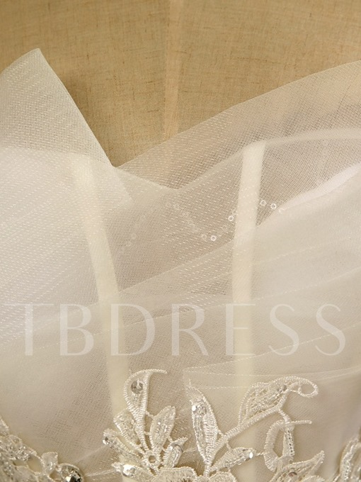 Strapless Tulle Appliques Lace Sheer Fishbones Ball Gown Wedding Dress