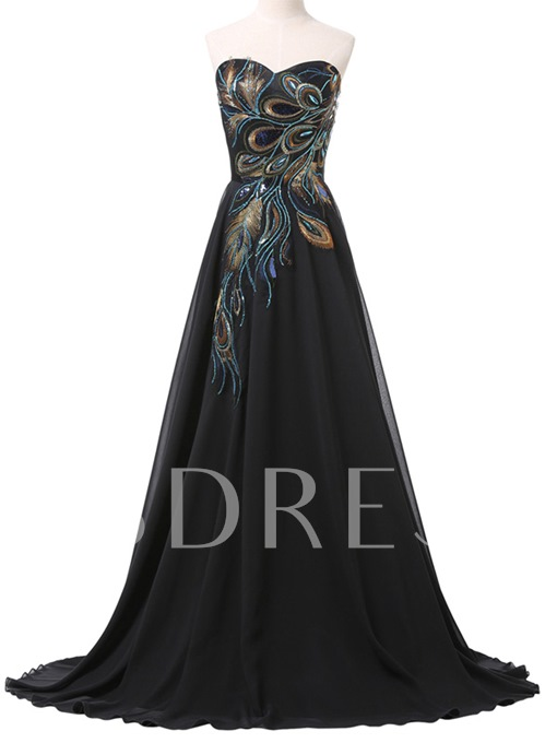 A-Line Sweetheart Sequins Long Evening Dress