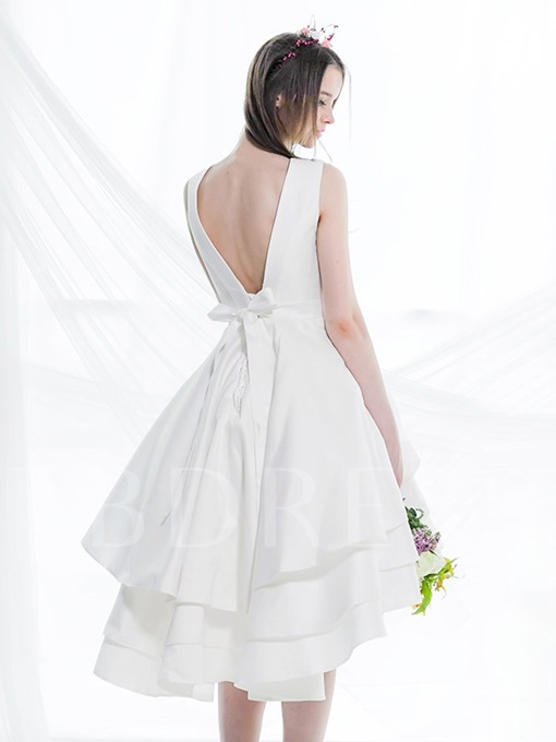 Lace-Up High-Low Taffeta Short Bridesmaid Dress