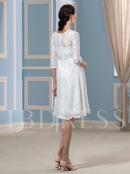3/4 Length Sleeve Lace Knee-Length Short Maternity Wedding Dress