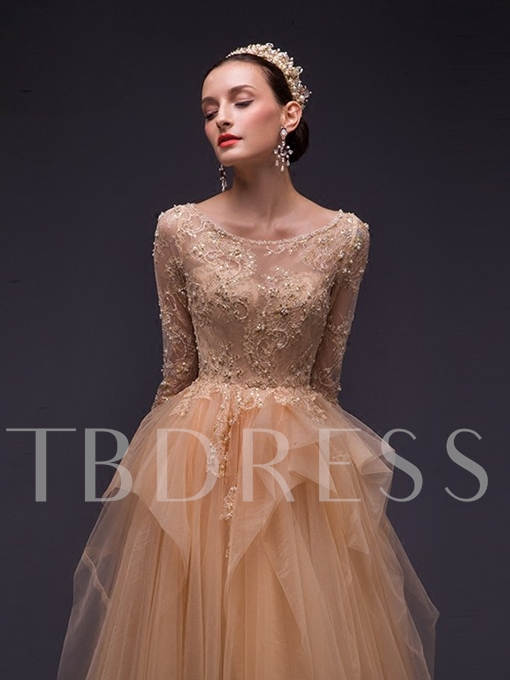 Scoop A-Line Long Sleeves Beading Lace Tiered Evening Dress