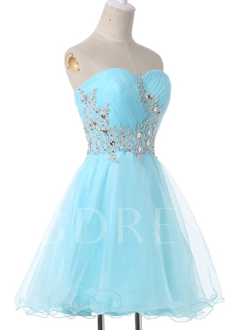 Sweetheart Appliques Lace-Up Homecoming Dress