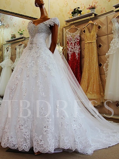 Off-The-Shoulder Rhinestone Ball Gown Wedding Dress