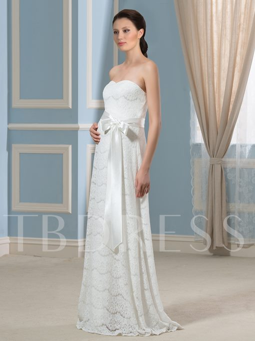 Strapless Lace Ribbon Pregnancy Maternity Wedding Dress