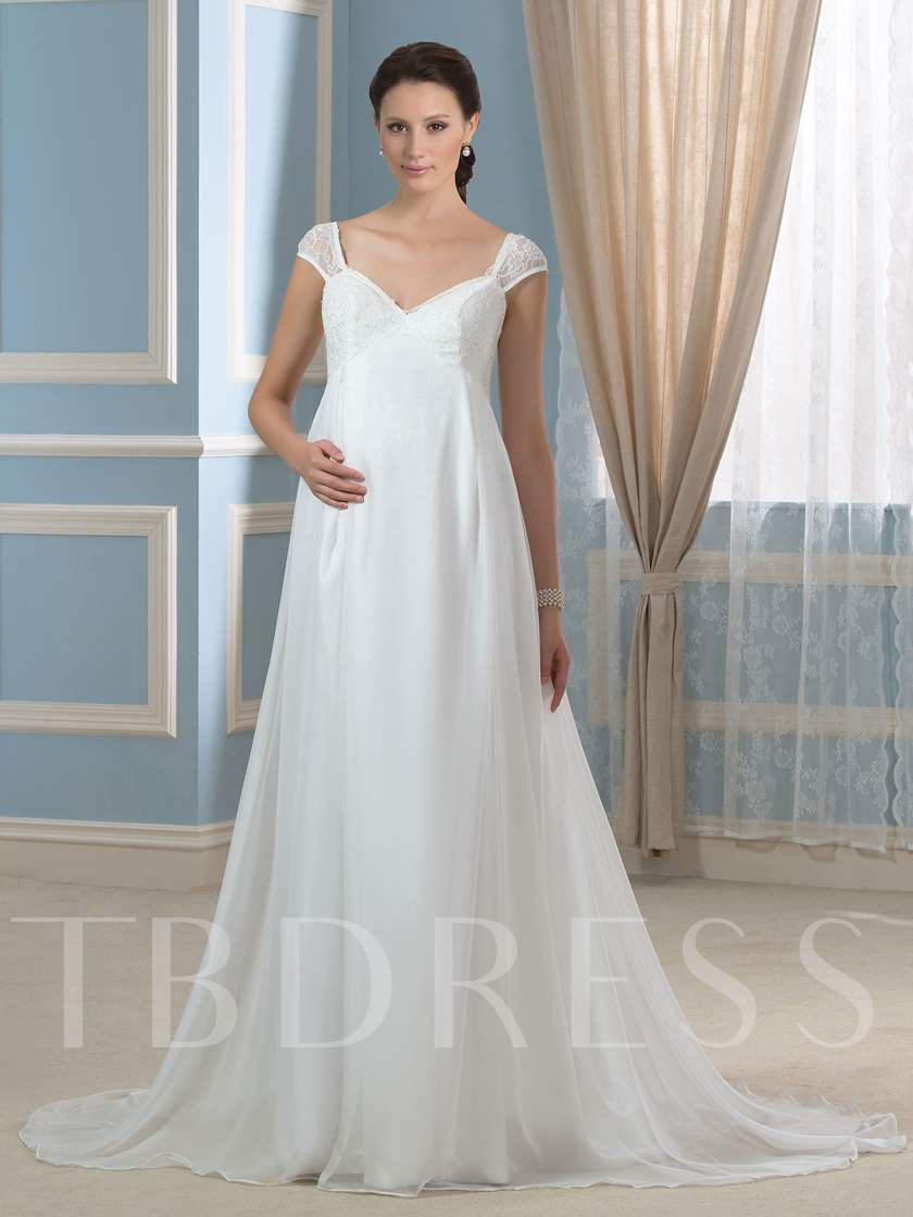 Cap Sleeve Lace-Up Lace Maternity Wedding Dress