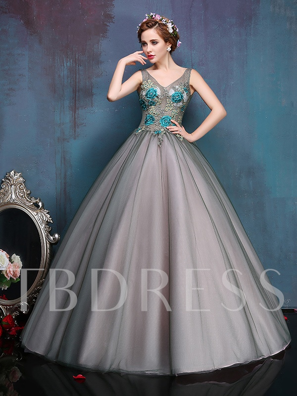 V-Neck Beaded Appliques Long Ball Gown Quinceanera Dress
