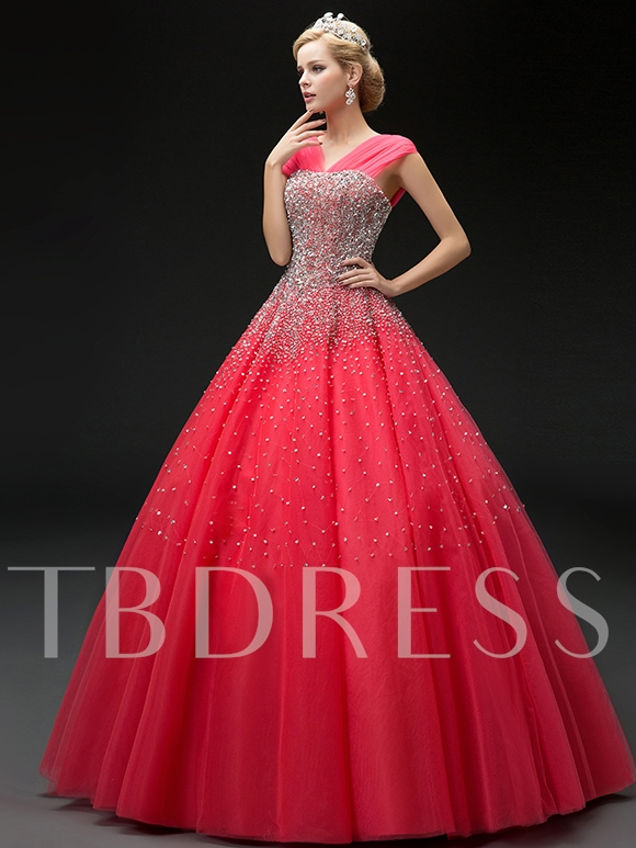 Floor-Length Sequins Lace-Up Ball Gown Quinceanera Dress