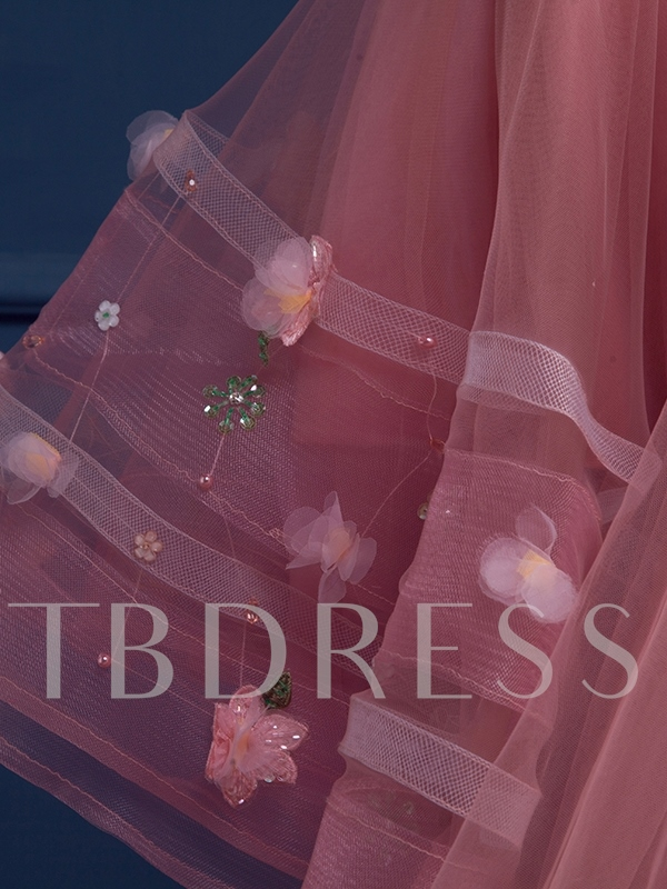 High-Low Sweetheart Ball Gown Flowers Beading Court Train Quinceanera Dress