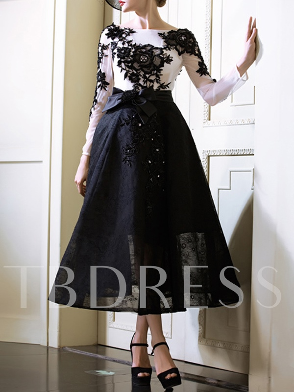 Long Sleeves Beaded Appliques Lace Tea-Length Evening Dress