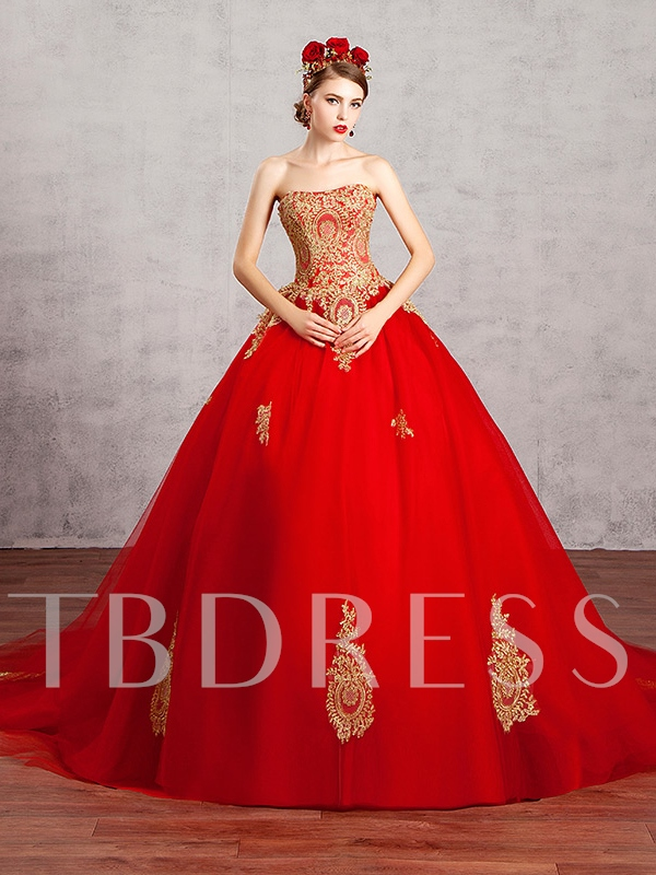 Strapless Lace Applqiues Ball Gown Red Wedding Dress - Tbdress.com