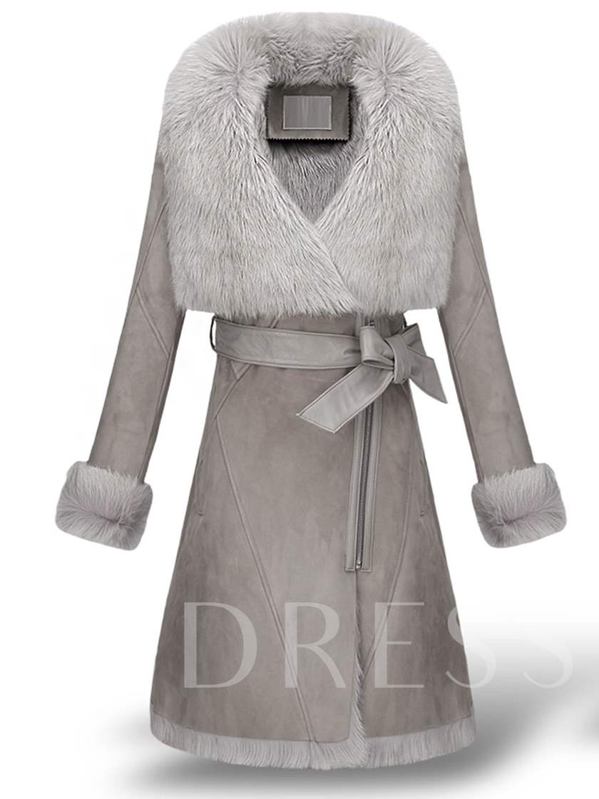 Wide Faux Fur Lapel with Belt Long Women's Overcoat