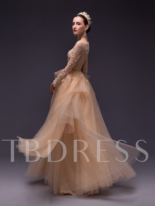 Long Sleeves Beading Lace Evening Dress