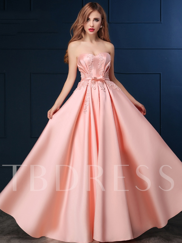 A-Line Sweetheart Appliques Bowknot Lace-Up Prom Dress - Tbdress.com