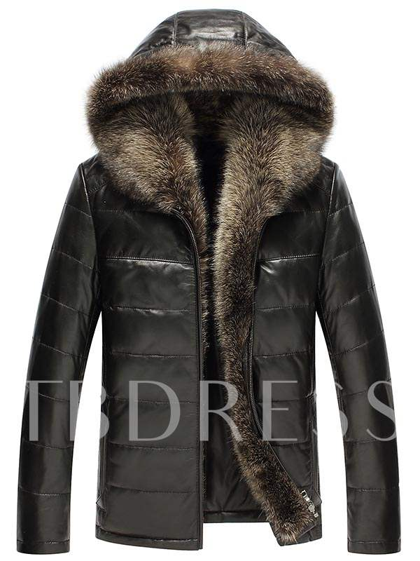 Buy Faux Feather Collar Windbreak Solid Color Thicken Warm Slim Men's Winter Coat, Winter, 12670223 for $38.99 in TBDress store