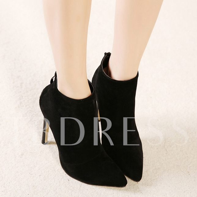 Pointed Toe Stiletto Heel Back Zipper Ankle Women's Boots