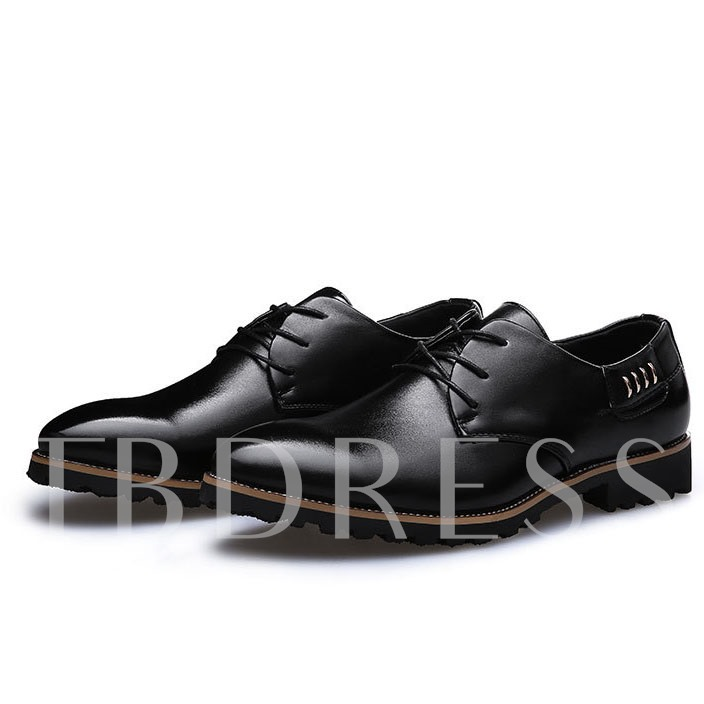 Lace-Up Front Square Heel Pointed Toe Men's Oxfords