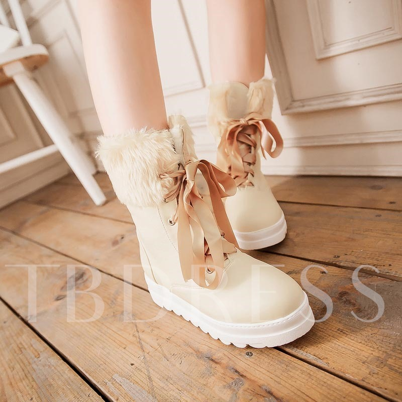 Round Toe Ribbon Lace-Up Front Women's Ankle Boots