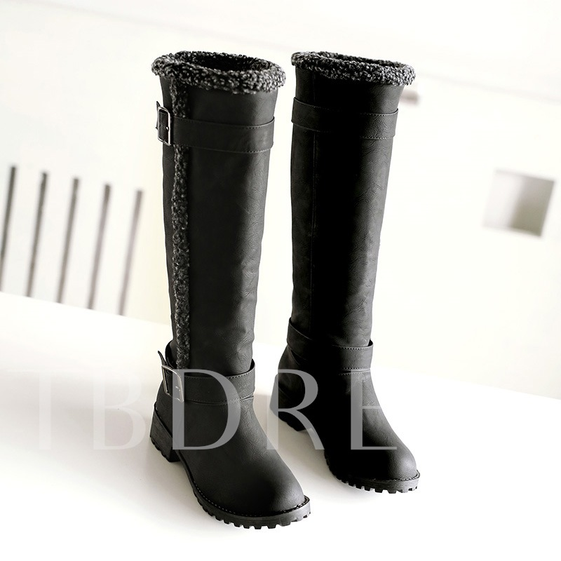 Round Toe Slip-On Square Heel Knee-High Women's Snow Boots