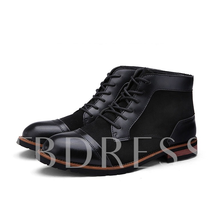 Round Toe Lace-Up Front Patchwork Square Heel Ankle Men's Boots
