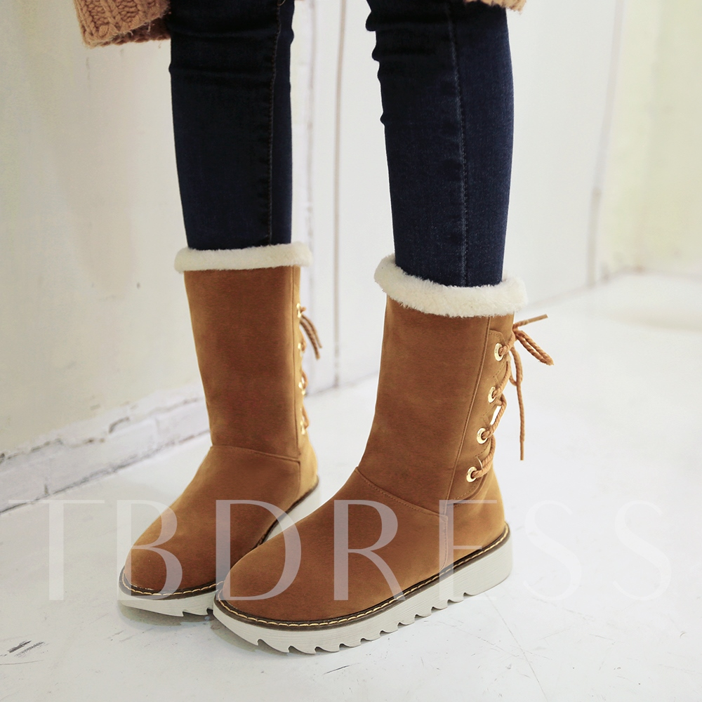 Elevator Heel Lace-Up Back Round Toe Ankle Suede Women's Snow Boots