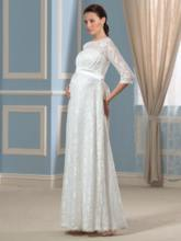 Floor-Length Half Sleeve Lace Pregnancy Maternity Wedding Dress