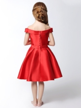 Off-the-Schulter Bowknot Rote Blumenmädchen Kleid