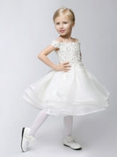 Off-The-Shoulder Lace Appliques Ball Gown Flower Girl Dress