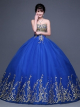 Strapless Embroidery Beading Ball Gown Quinceanera Dress