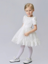 Short Sleeves Appliques Knee-Length Flower Girl Dress