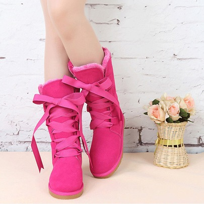 Round Toe Lace-Up Flat Heel Knee-High Women's Snow Boots