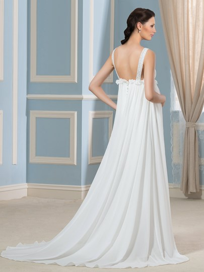 Beading V-Neck Empire Waist A-Line Court Pregnancy Wedding Dress ...