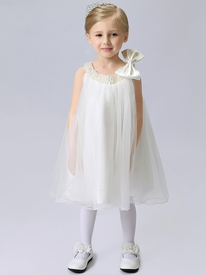 Pearls Bowknot Knee-Length Flower Girl Dress