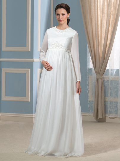 Long Sleeve Beaded Chiffon A-Line Pregnant Maternity Wedding Dress