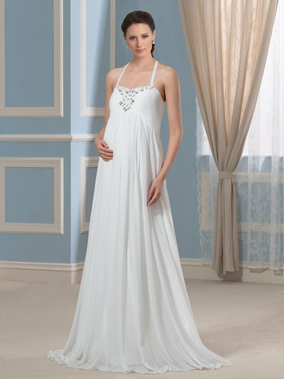 Empire Waist Halter Neck Beading A-line Maternity Wedding Dress