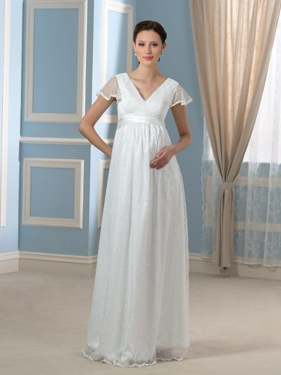Floor-Length V-Neck Lace Short Sleeve Maternity Wedding Dress