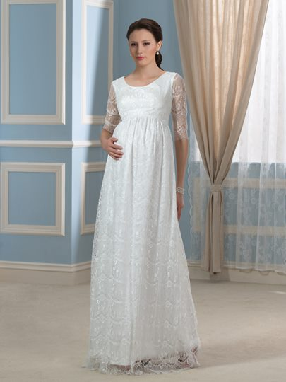 Pregnant Empire Waist Half Sleeves Lace Maternity Wedding Dress