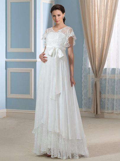 White/Ivory Beaded Lace V-Neck A-Line Chiffon Maternity Wedding Dress