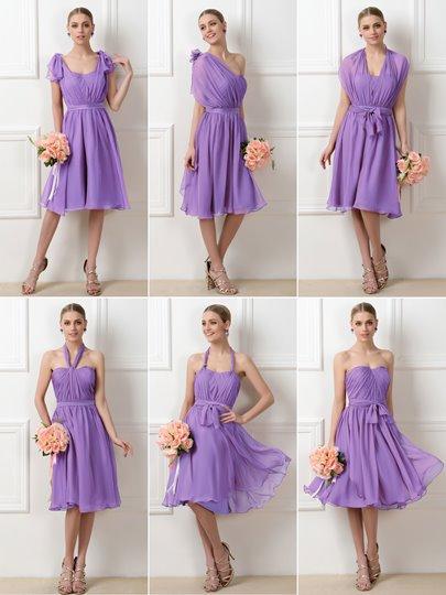 Convertible A-Line Short Bridesmaid Dress