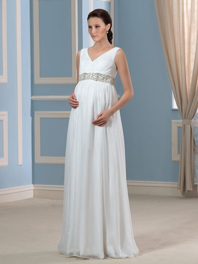 V-Neck Beading Empire Waist 30D Chiffon Maternity Wedding Dress