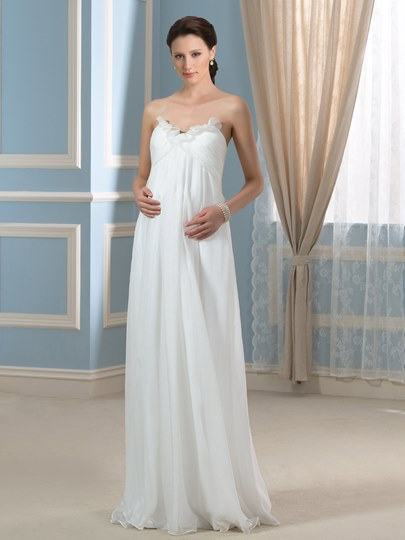 Casual Strapless A-Line Chiffon Floor-Length Maternity Wedding Dress