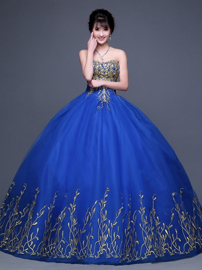 Sweetheart Embroidery Floor-length Ball Gown