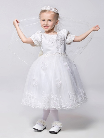 Short Sleeve Bow Knot Ball Gown Short Flower Girl Dress