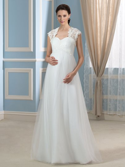 Lace-Up Tulle Spaghetti Straps A-Line Maternity Wedding Dress with Lace Jaket