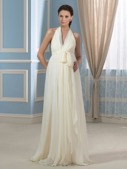 Champagne Sexy Backless Halter Neckline Long Maternity Wedding Dress