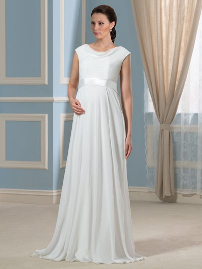 Casual A-Line Sash Floor-Length Pregnant Maternity Wedding Dress