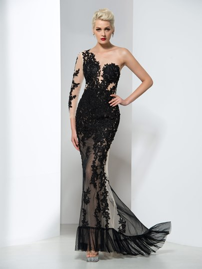 One-Shoulder Appliques Mermaid Long Evening Dress