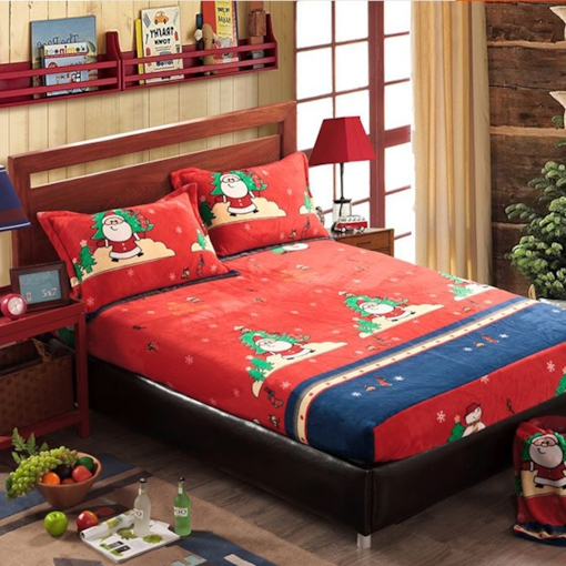 Santa Claus Cartoon 4-Piece Cotton Duvet Cover Sets