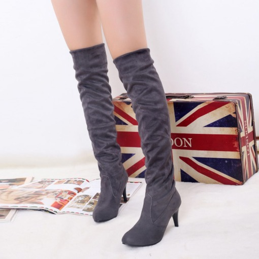 Stiletto Heel Slip-On Round Toe Over-the-Knee Women's Boots